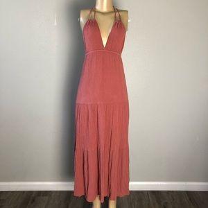 Lulu's pink crisscrossing straps long dress size S
